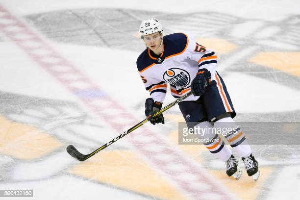 Edmonton Oilers Right Wing Kailer Yamamoto skates during the first period in the NHL game between the Pittsburgh Penguins and the Edmonton Oilers on...