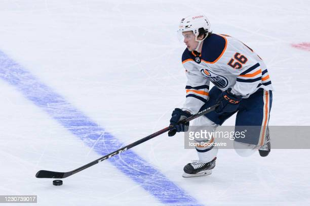 Edmonton Oilers Right Wing Kailer Yamamoto skates with the puck during the NHL regular season game between the Edmonton Oilers and the Toronto Maple...