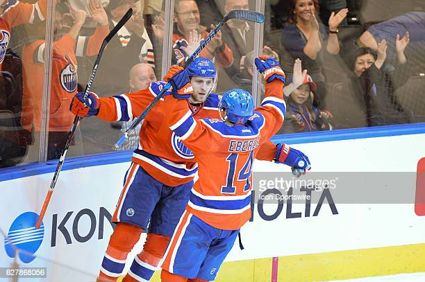 Edmonton Oilers Right Wing Leon Draisaitl is congratulated by Edmonton Oilers Right Wing Jordan Eberle after scoring the game winning overtime goal...