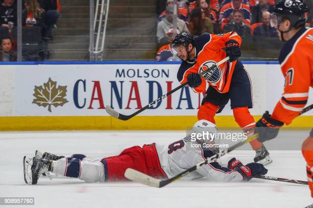 Edmonton Oilers Right Wing Ty Rattie takes a wrist shot during the Edmonton Oilers game versus the Columbus Blue Jackets game on March 27 at Rogers...