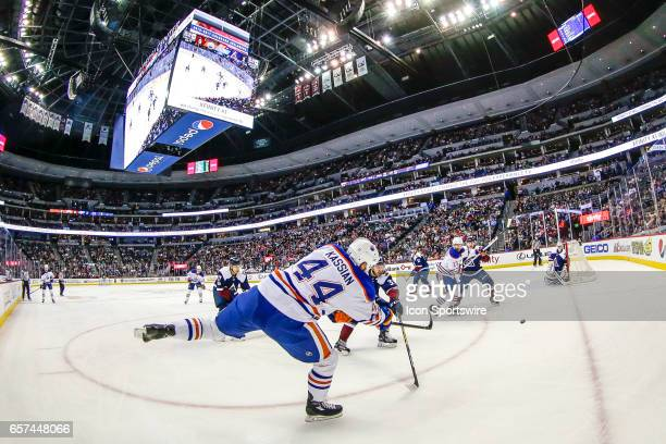 Edmonton Oilers Right Wing Zack Kassian shoots on Colorado Avalanche Goalie Jeremy Smith during the Edmonton Oilers and Colorado Avalanche NHL game...