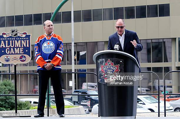 Edmonton Oilers Vice Chair Oilers Entertainment Group/Alternate Governor Kevin Lowe announces the Oilers alumni roster as Dave Semenko looks on...
