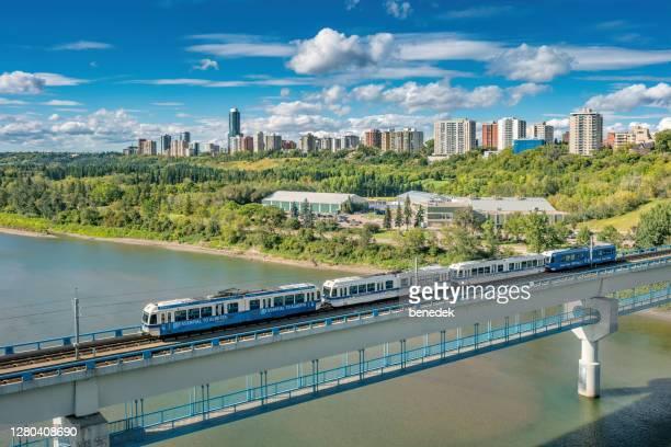 edmonton transit service light rail alberta canada - edmonton stock pictures, royalty-free photos & images