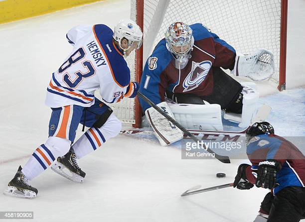 Edmonton wing Ales Hemsky skated into the crease in front of Avs goaltender Semyon Varlamov in the second period The Colorado Avalanche hosted the...