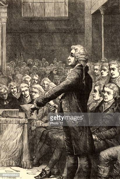 Edmund Burke AngloIrish orator political philosopher and writer member of the Whig political party Burke supporting William Wilberforce's motion for...
