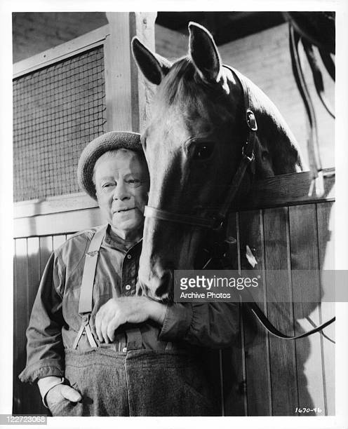 Edmund Gwenn with horse in a scene from the film 'It's A Dog's Life' 1955