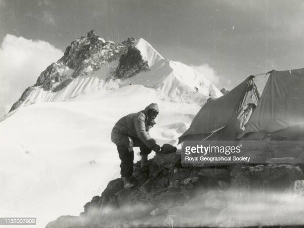 Edmund Hillary and Pointed Peak from col at head of Chola Khola Mount Everest Expedition 1953 Artist Charles Wylie