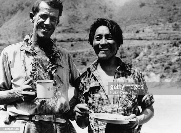 Edmund Hillary and Tenzing Norgay Enjoy a Snack