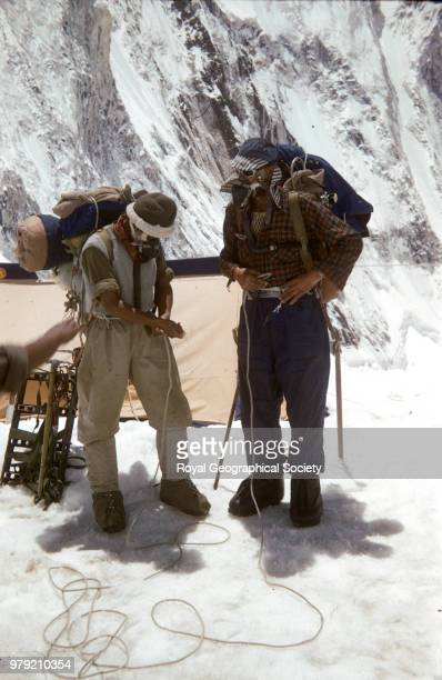 Edmund Hillary and Tenzing Norgay preparing for the final assault at Camp IV Nepal March 1953 Mount Everest Expedition 1953