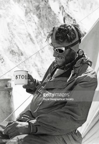 Edmund Hillary drinks tea at Camp IV after his ascent of Everest Nepal 30 May 1953 Mount Everest Expedition 1953
