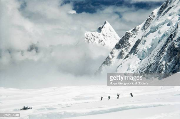 Edmund Hillary leads a group into the Western Cwm Nepal March 1953 Mount Everest Expedition 1953