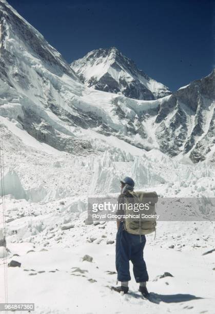 Edmund Hillary with ice pinnacles in the Khumbu Glacier Nepal March 1953 Mount Everest Expedition 1953