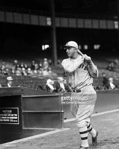 Edmund J Miller of the St Louis Browns swinging a bat in 1927