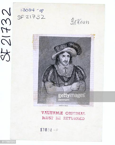 Edmund Kean an English actor who made his mark as a tragedian A waistlength illustration of Kean wearing an Elizabethanera costume Undated...