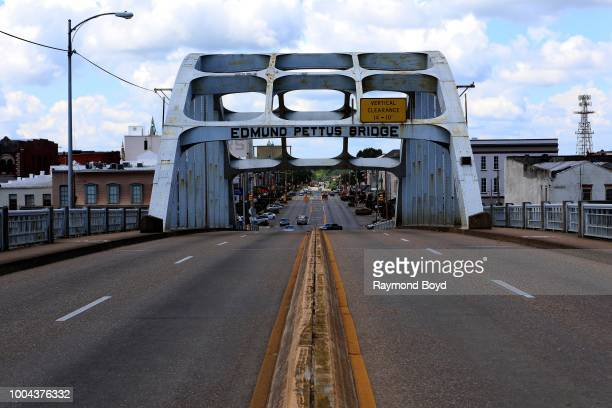 Edmund Pettus Bridge, site of the conflict of 'Bloody Sunday' on March 7, 1965 when armed police officers attacked Civil Rights Movement...