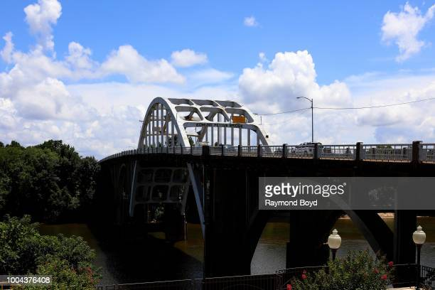 Edmund Pettus Bridge site of the conflict of 'Bloody Sunday' on March 7 1965 when armed police officers attacked Civil Rights Movement demonstrators...