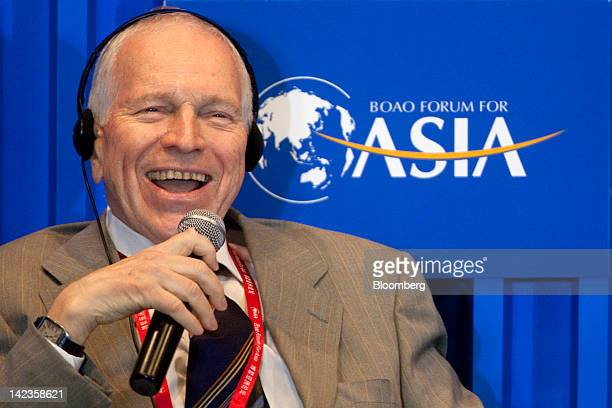 Edmund Phelps, 2006 Nobel Prize Laureate in economics, speaks during a session at the Boao Forum for Asia in Boao, Hainan Province, China, on...