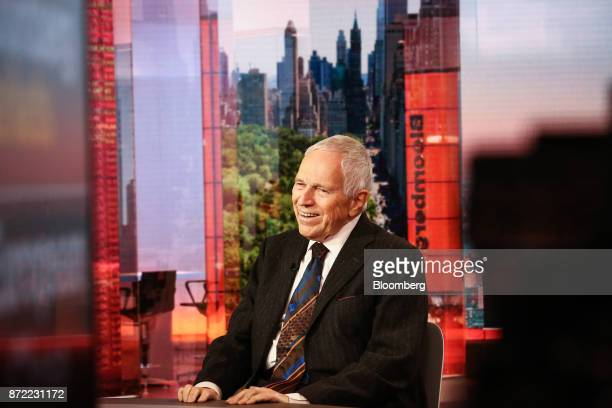 Edmund Phelps, director of Center on Capitalism & Society at Columbia University, smiles during a Bloomberg Television interview in New York, U.S.,...