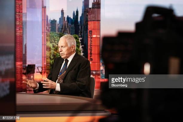 Edmund Phelps, director of Center on Capitalism & Society at Columbia University, speaks during a Bloomberg Television interview in New York, U.S.,...