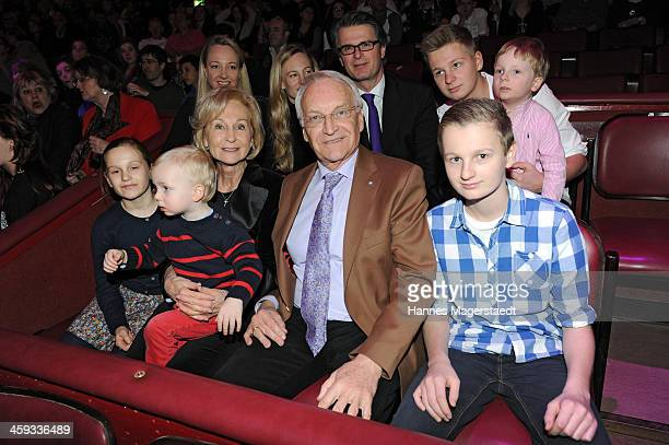 Edmund Stiber with his family attend the Circus Krone Christmas Show at Circus Krone on December 25 2013 in Munich Germany
