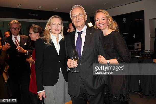 Edmund Stoiber and his daughter Constanze Hausmann and daughter Veronica Sass attend the Hirmer store reopening on October 22 2014 in Munich Germany