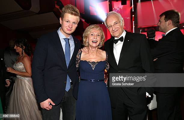 Edmund Stoiber and his wife Karin Stoiber and their grandson Johannes Hausmann during the German Sports Media Ball at Alte Oper on November 7 2015 in...