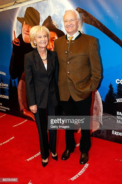 Edmund Stoiber and his wife Karin Stoiber attend the German premiere of 'Brandner Kaspar' on October 11 2008 in Munich Germany