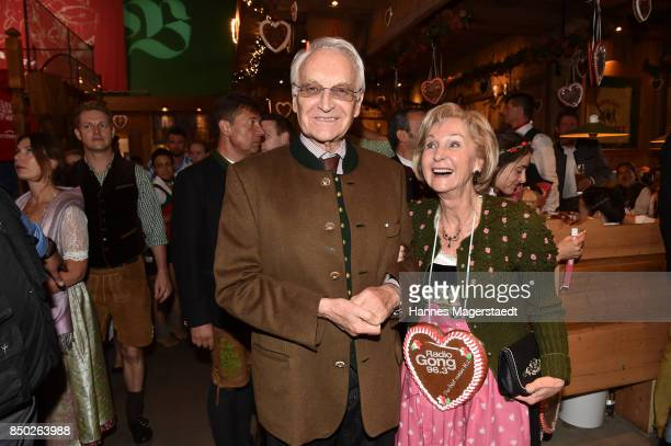 Edmund Stoiber and his wife Karin Stoiber attend the Radio Gong 963 Wiesn during the Oktoberfest 2017 on September 20 2017 in Munich Germany