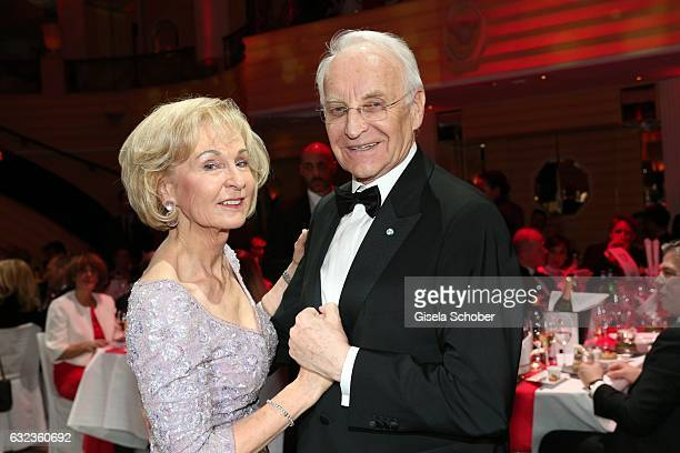 Edmund Stoiber and his wife Karin Stoiber dance during the 44th German Film Ball 2017 party at Hotel Bayerischer Hof on January 21 2017 in Munich...