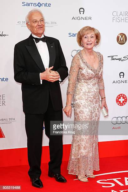 Edmund Stoiber and his wife Karin Stoiber during the German Film Ball 2016 at Hotel Bayerischer Hof on January 16 2016 in Munich Germany