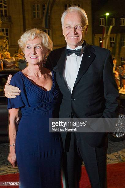 Edmund Stoiber and Karin Stoiber attend the Bayreuth Festival Opening State Banquet on July 25 2014 in Bayreuth Germany