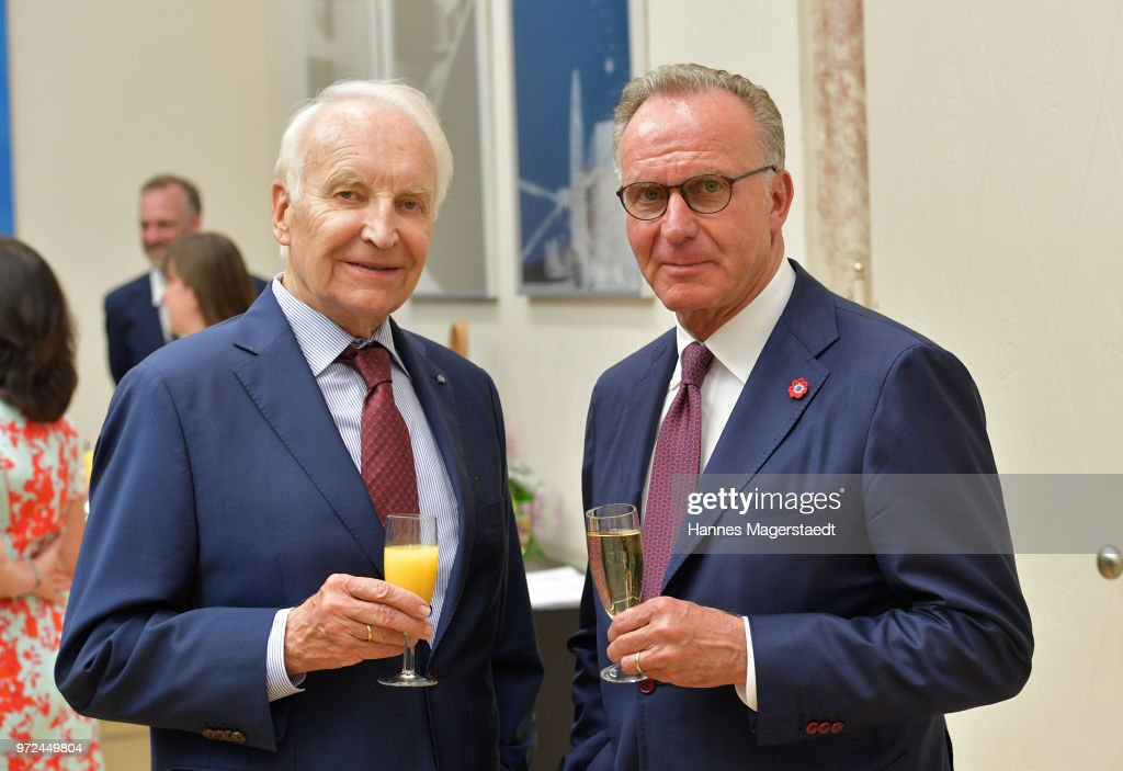 Edmund Stoiber and Karl-Heinz Rummenigge during Karl Hopfner Is Awarded With The Federal Cross of Merit at department of the Interior on June 12, 2018 in Munich, Germany.
