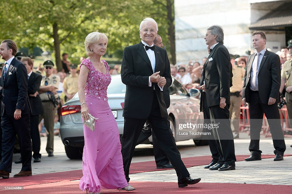 Edmund Stoiber and wife Karin attend the Bayreuth Festival opening on July 25, 2013 in Bayreuth, Germany.