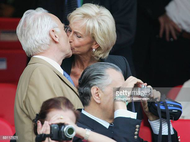 Edmund Stoiber, Bavarian Primeminister kisses his wife Karin Stoiber during the FIFA Confederations Cup 2005 match between Argentina and Germany at...
