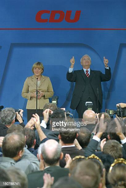 Edmund STOIBER candidate for the chancellorship of the CDU/CSU and DR Angela Merkel party chairwoman of the CDU during parliamentary elections