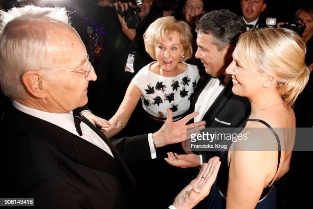 Edmund Stoiber his wife Karin Stoiber Sigmar Gabriel and his wife Anke Stadler during the German Film Ball 2018 at Hotel Bayerischer Hof on January...