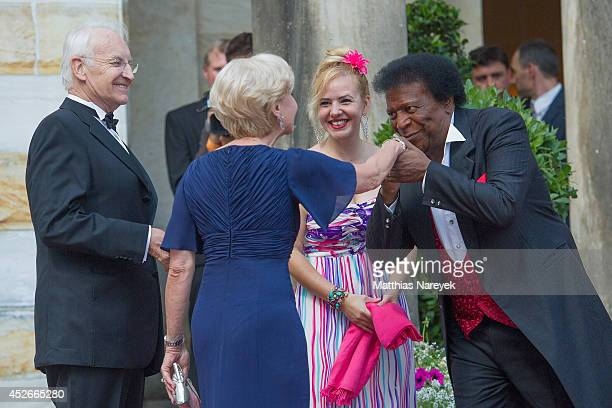 Edmund Stoiber Karin Stoiber Roberto Blanco and Luzandra Strassburg attend the Bayreuth Festival Opening 2014 on July 25 2014 in Bayreuth Germany