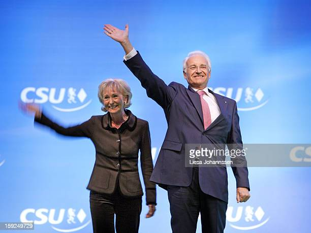 Edmund Stoiber MinisterPresident of Bavaria and Chairman of the Christian Social Union of Bavaria and his wife Karin Stoiber at the Christian Social...