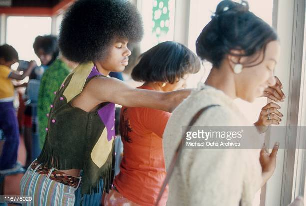 Edmund Sylvers and sisters Charmaine Sylvers and Olympia Sylvers of the R and B group The Sylvers at Magic Mountain on June 22 1973 in Valencia...