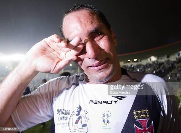 Edmundo bids farewell to fans during a match between Vasco da Gama and Barcelona of Quayaquil as part of Edmundo's farewell match at Sao Januario...