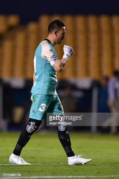 Edmundo Vázquez of Juárez celebrates after teammate Darío Lezcano scored his team's first goal during the 10th round match between Tigres UANL and FC...
