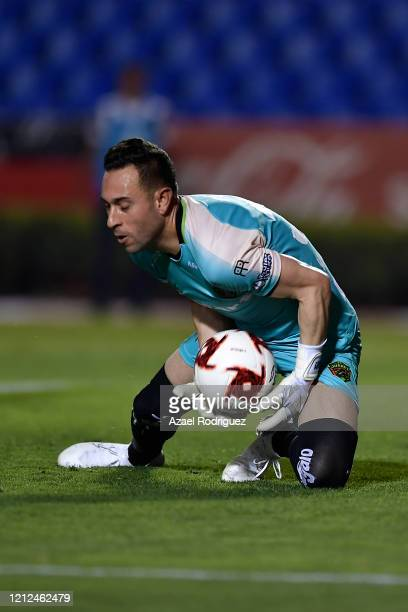Edmundo Vázquez of Juárez makes a save during the 10th round match between Tigres UANL and FC Juarez as part of the Torneo Clausura 2020 Liga MX at...