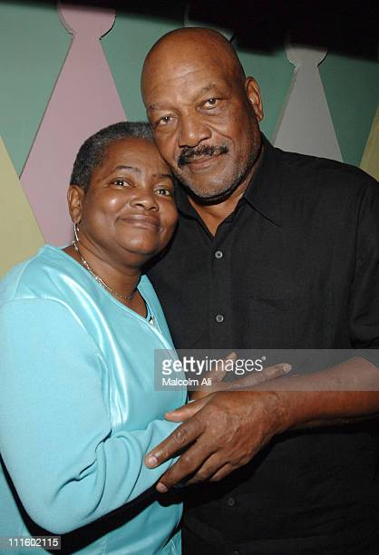 Edna Bellamy and Jim Brown during Bill Bellamy Surprise 40th Birthday Party at Monroe's in West Hollywood California United States