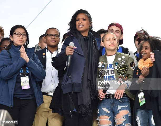 Edna Chavez Zion Kelly Jennifer Hudson Emma Gonzalez and Naomi Wadler pose onstage at March For Our Lives on March 24 2018 in Washington DC