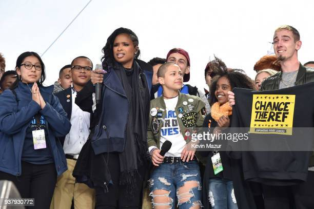 Edna Chavez Zion Kelly Jennifer Hudson Emma Gonzalez Naomi Wadler and Sam Zeif pose onstage at March For Our Lives on March 24 2018 in Washington DC