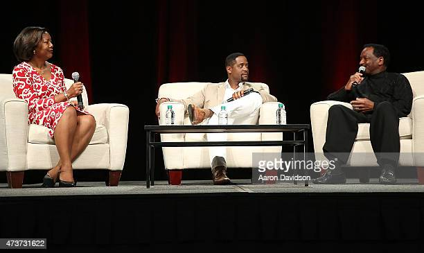 Edna KaneWilliams Blair Underwood and Donnie Simpson attend 'A Conversation about Hollywood Radio and Fame' at the AARP Life@50 Expo at the Miami...