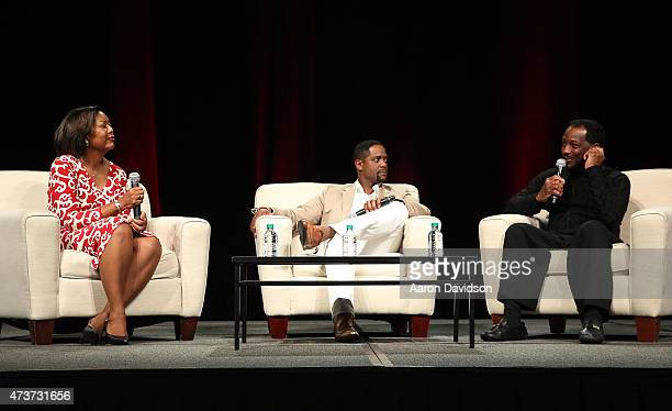 Edna KaneWilliams Blair Underwood Donnie Simpson attend 'A Conversation about Hollywood Radio and Fame' at the AARP Life@50 Expo at the Miami Beach...