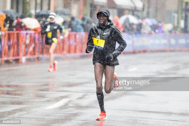 Edna Kiplagat approaches the 24 mile marker of the 2018 Boston Marathon on April 16, 2018 in Brookline, Massachusetts. Desiree Linden became the...