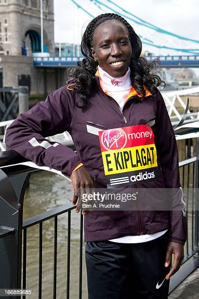 Edna Kiplagat attends the photocall for International Women photocall ahead of The the London Marathon at The Tower Hotel on April 18, 2013 in...