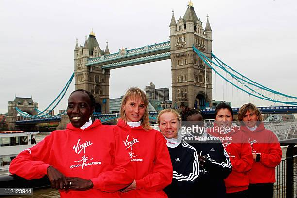 Edna Kiplagat, Liliya Shobukhova, Inga Abitova, Mary Keitany, Zhou Chunxiu and Irina Mikitenko pose during the Virgin London Marathon 2011 Photo Call...